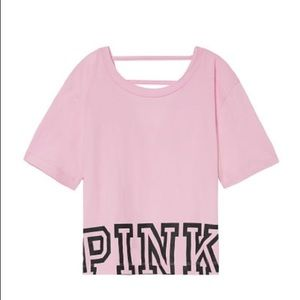 NWT Pink VS Ladder Back Cropped Tee